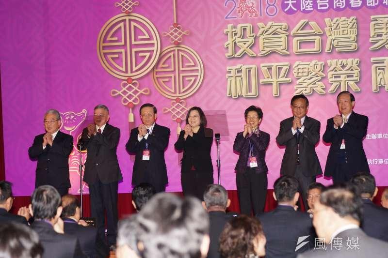 2018大陸台商春節聯誼活動,總統蔡英文主持團拜。(盧逸峰攝)