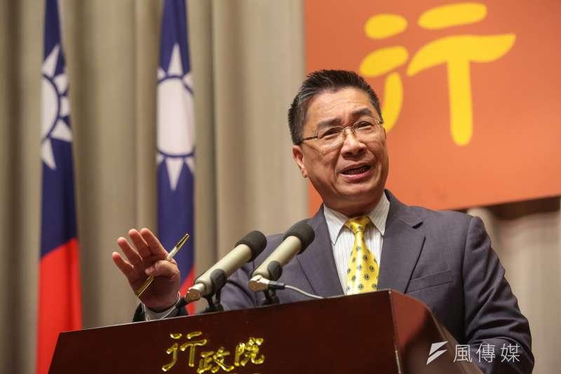 行政院發言人徐國勇23日召開記者會,說明內閣改組事宜。(顏麟宇攝)