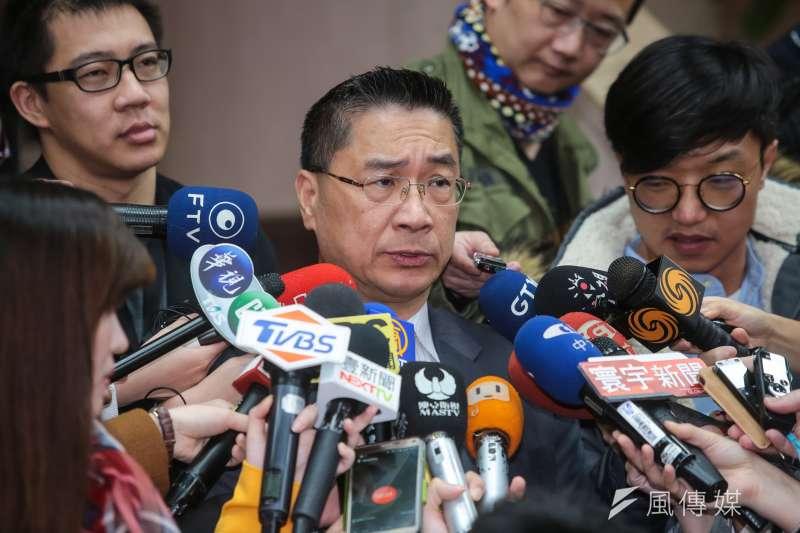 行政院發言人徐國勇23日於政院接受媒體聯訪。(顏麟宇攝)