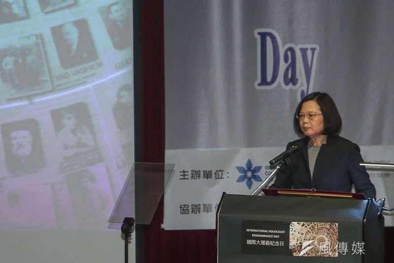 總統蔡英文25日出席「國際大屠殺紀念日」活動,強調會與國際社會共同努力,維護人權、自由和正義的普世價值。(陳明仁攝)
