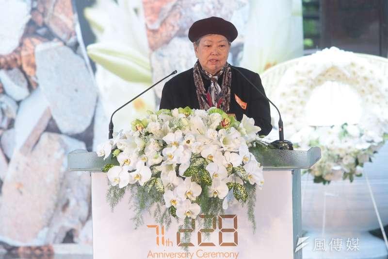 二二八事件受害者家屬代表林黎彩28日出席「二二八事件71週年中樞紀念儀式」。(顏麟宇攝)