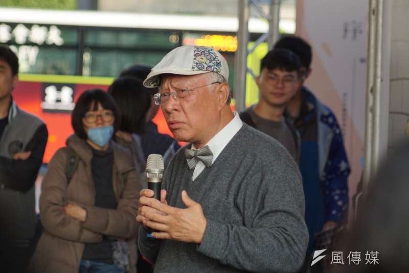 第六屆共生音樂節,總統府人權諮詢委員、民報董事長陳永興發表演講。(盧逸峰攝)