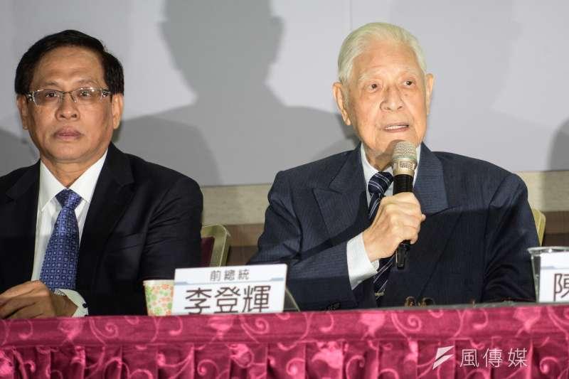 前總統李登輝28日應邀出席「喜樂島聯盟籌組記者會」。(甘岱民攝)