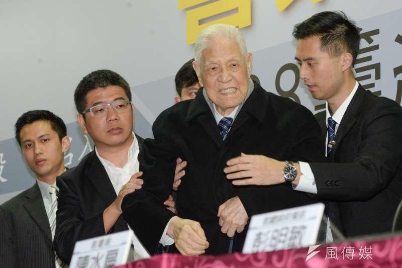 2018-02-28-前總統李登輝應邀出席「喜樂島聯盟籌組記者會」。(甘岱民攝)