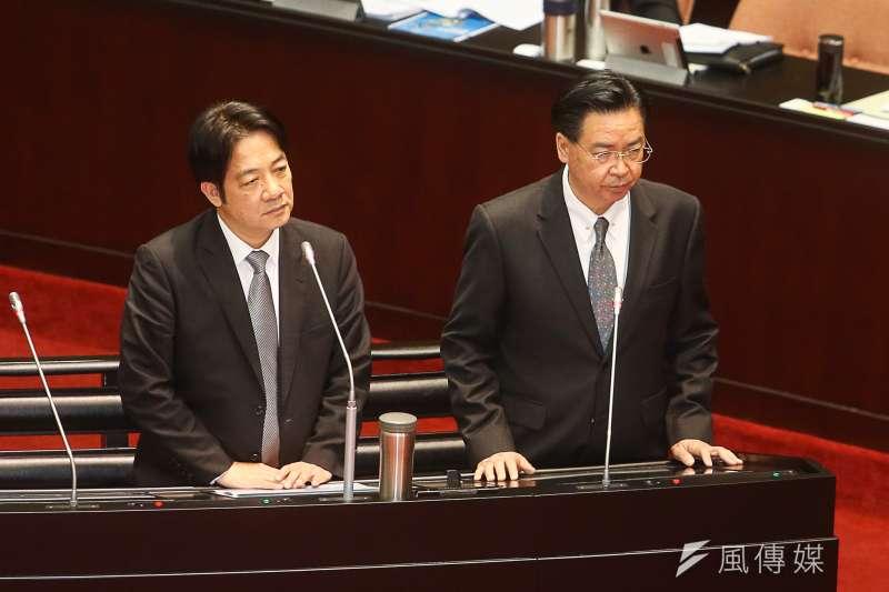 施政報告總質詢,(右起)外交部長吳釗燮,行政院長賴清德。(資料照,陳明仁攝)