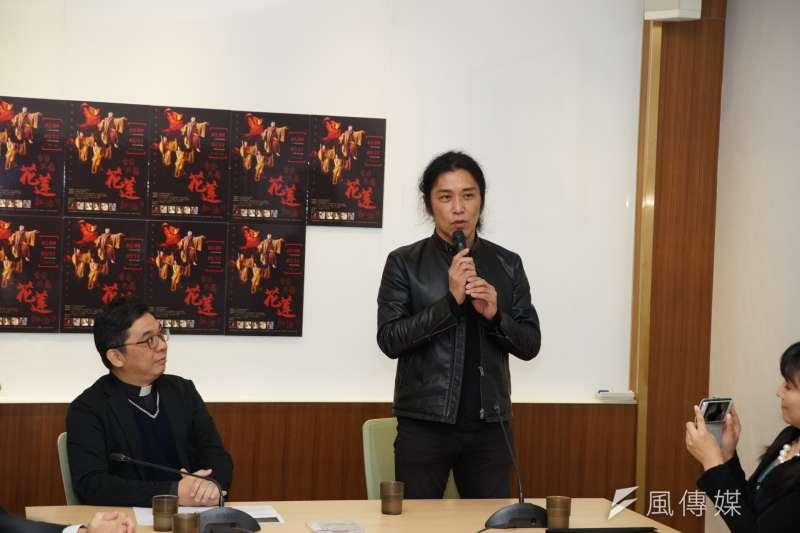 20180309-「日台共舞,花蓮加油」記者會,能劇表演家Jun Amanto發言。(盧逸峰攝)