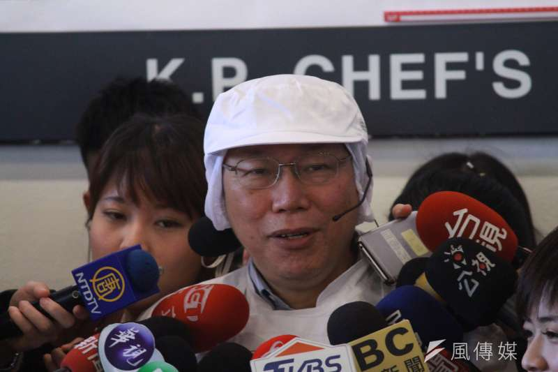 台北市長柯文哲8日上午前往北市開平餐飲學校出席公開活動。(方炳超攝)