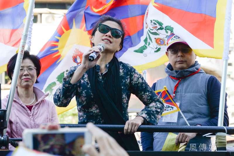 20180310-310西藏抗暴日59週年遊行,立委Kolas Yotaka聲援遊行。(甘岱民攝)