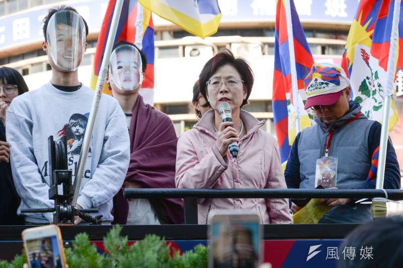 20180310-310西藏抗暴日59週年遊行,立委尤美女聲援遊行。(甘岱民攝)