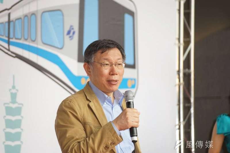 2018-03-12-台北市長柯文哲與新北市長朱立倫共同宣布公共運輸定期票發行,台北市長柯文哲。(盧逸峰攝)