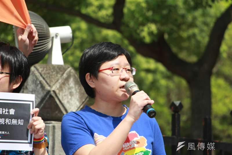 行政院版本同性婚姻專法草案正式出爐,台灣伴侶權益推動聯盟秘書長簡至潔21日表示感謝行政院的努力。(資料照,陳韡誌攝)