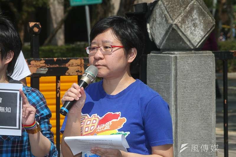 臺灣伴侶權益推動聯盟秘書長簡至潔回應行政院提出的同婚專法。(資料照片,陳明仁攝)