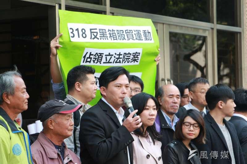 20180313-「318反黑箱服貿運動,佔領立法院案-二審宣判記者會」,黃國昌發言。(陳韡誌攝)