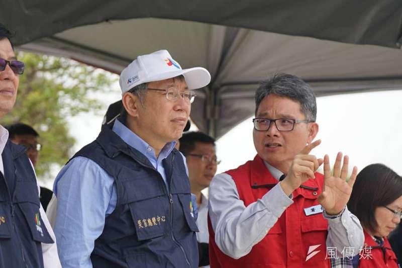 2018-03-15-台北市長柯文哲今日出席防災演練活動。(盧逸峰攝)