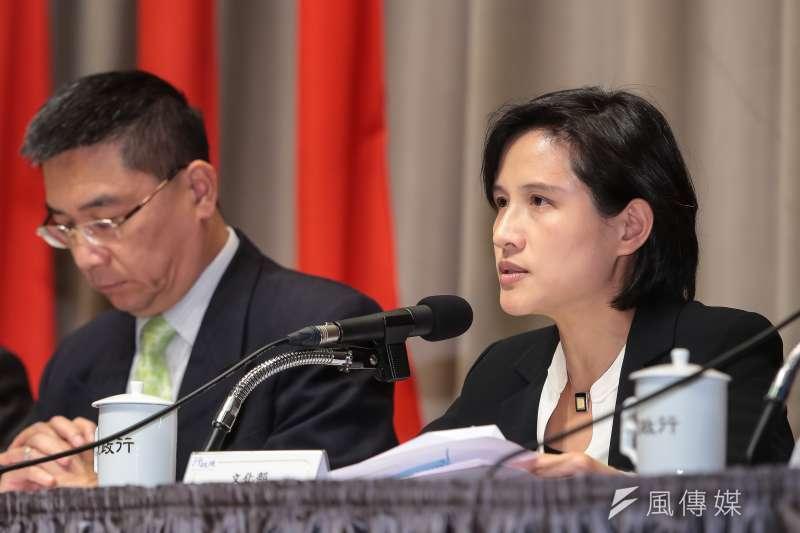 20180316-文化部長鄭麗君16日針對大陸對台31項措施,出席行政院因應對策記者會。(顏麟宇攝)