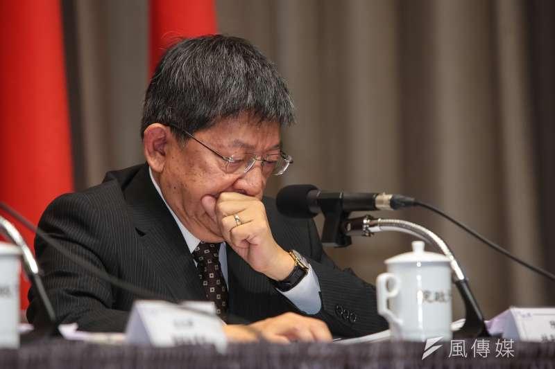 20180316-陸委會副主委林正義16日針對大陸對台31項措施,出席行政院因應對策記者會。(顏麟宇攝)