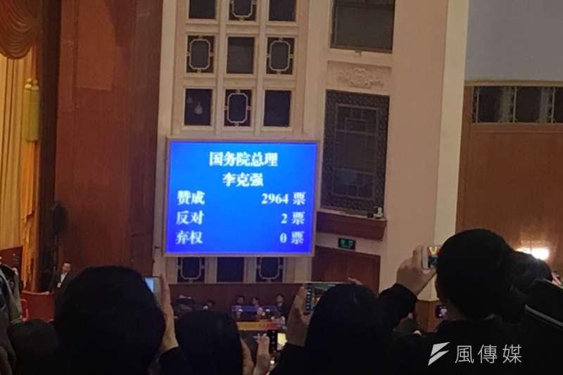 2018-03-18-中國全國人大投票,國務院總理李克強投票結果。(王彥喬攝)