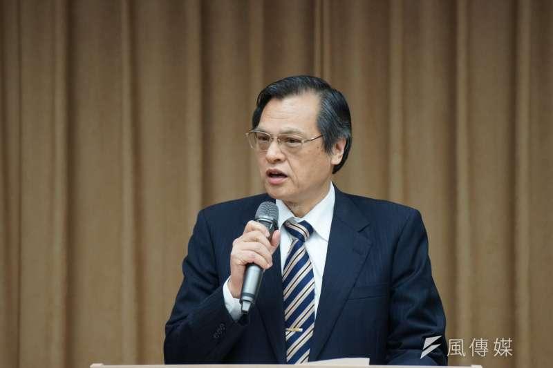 陸委會19日舉行主委交接典禮,新任主委陳明通致詞。(盧逸峰攝)