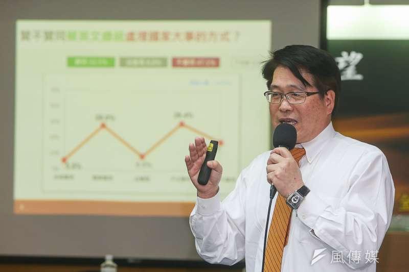 台灣民意基金會19日舉行「內閣改組、兩岸關係與總統聲望」全國性民調發表會,台灣民意基金會董事長游盈隆出席。(陳明仁攝