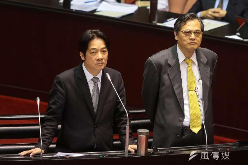 行政院長賴清德、陸委會主委陳明通20日於立院備詢,賴清德說台灣找不到九二共識這把鑰匙。(顏麟宇攝)