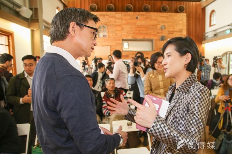 20180323-傀儡花節目製作發表會,(左起)導演曹瑞原、文化部長鄭麗君。(陳明仁攝)