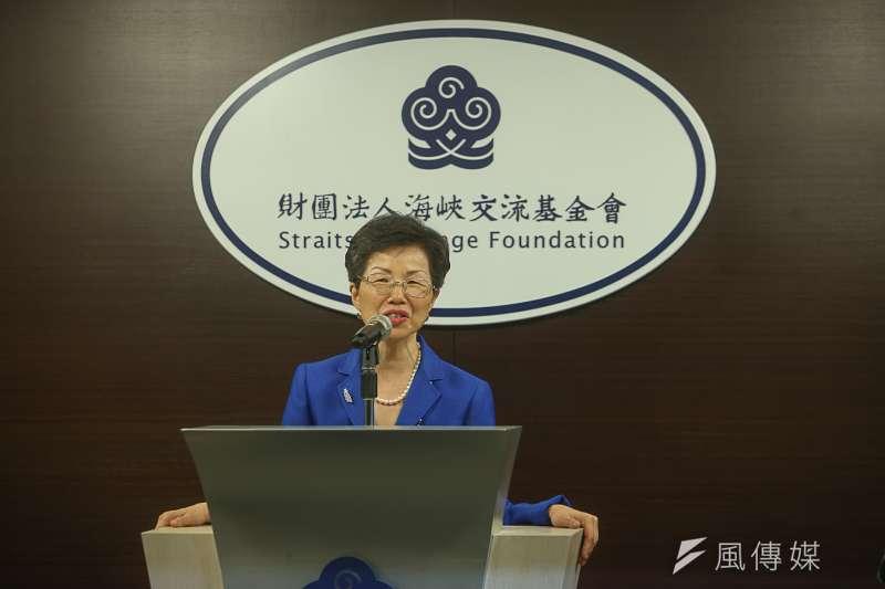 新上任的海基會董事長張小月表示,希望中國大陸為台商服務,而不是要求台商接受他們的政治前提,這樣對台商不公平。(陳明仁攝)