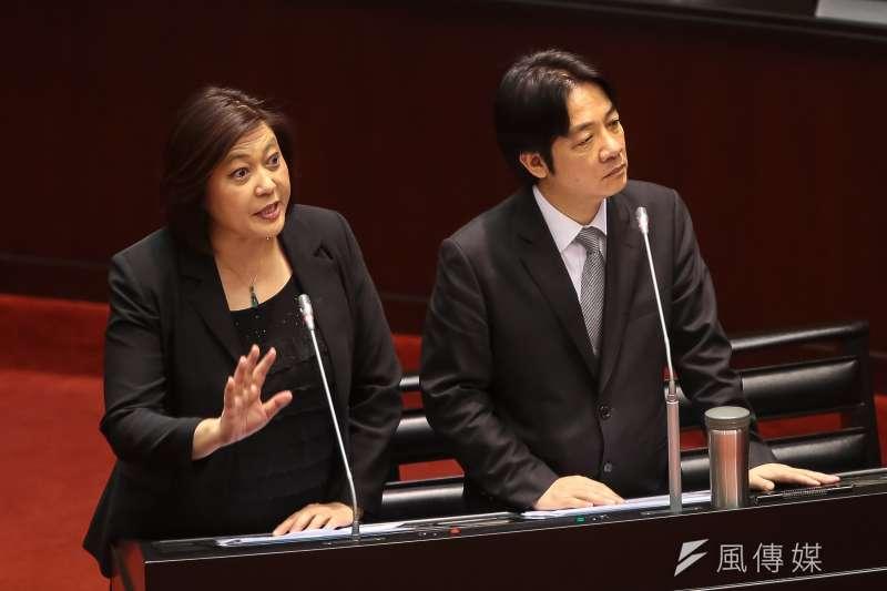 NCC主委詹婷怡、行政院長賴清德於立院備詢。(顏麟宇攝)
