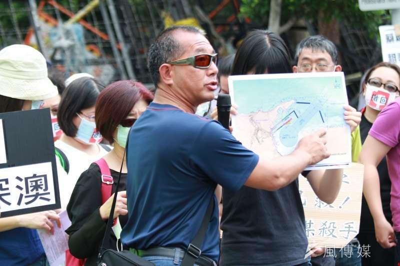 綠色公民行動聯盟、綠色和平召開「要求行政院立即撤回深澳案」記者會。(陳韡誌攝)