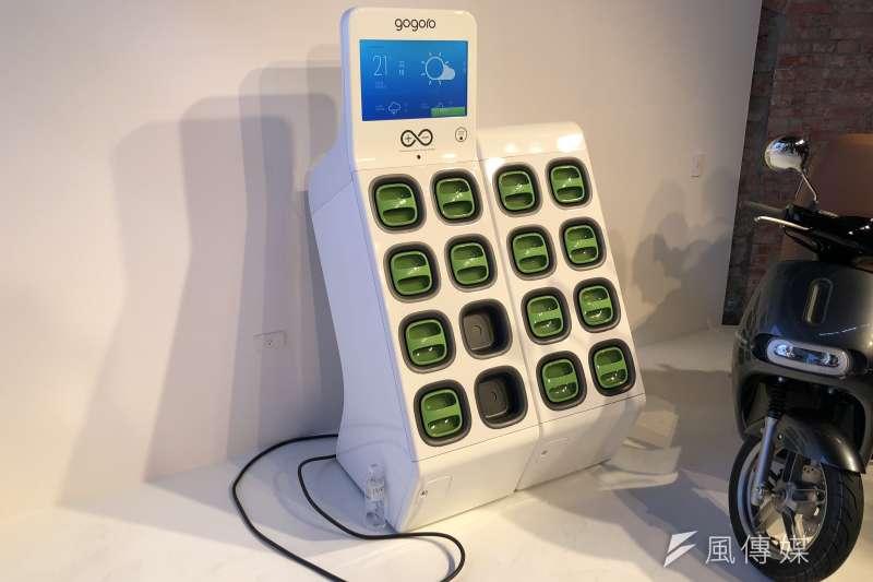 20180330-Gogoro表示,「Go Station 2.0」電池交換站,具備獨立供電系統,即使停電,仍能維持48小時供電。(李泰誼攝)