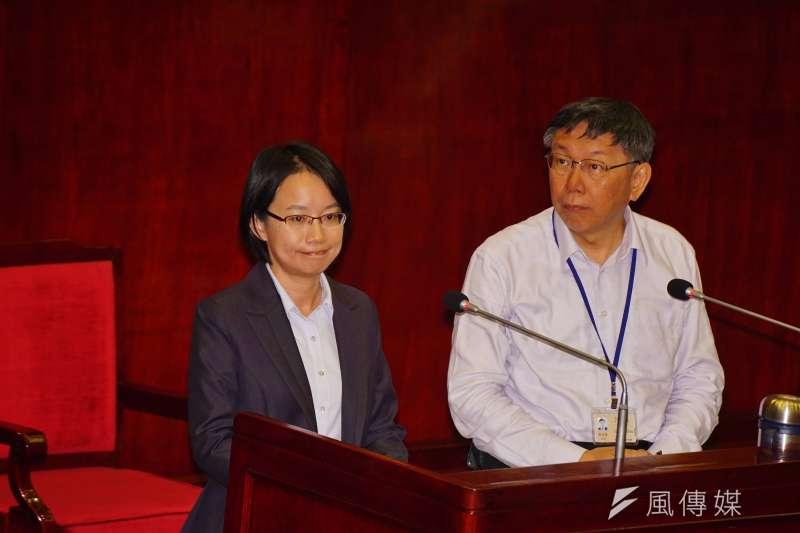 20180411-北農總經理吳音寧、市長柯文哲同台備詢。(盧逸峰攝)