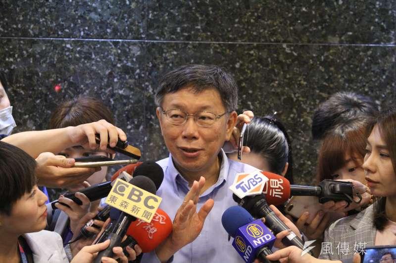 台北市長柯文哲13日下午出席「秀17─台北市青少年創意時尚造型觀摩賽」活動。(方炳超攝)