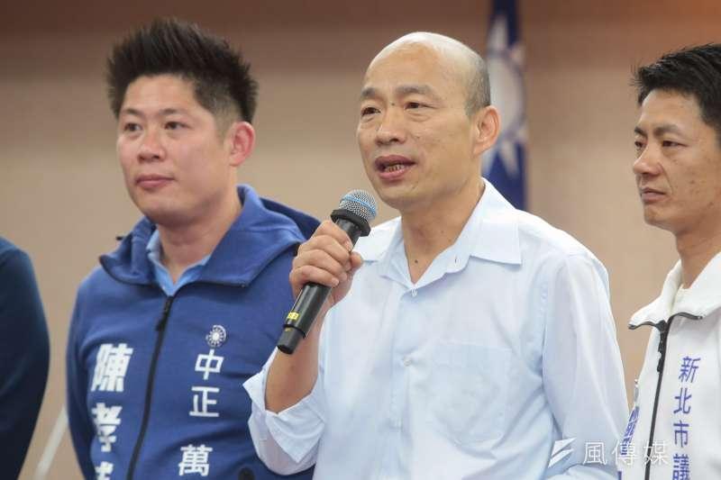 國民黨高雄市長參選人韓國瑜反駁任北農總經理時業務費比吳音寧高的傳言。(資料照片,顏麟宇攝)