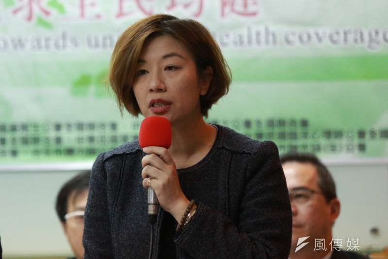 20180418-台灣醫事團體舉辦「台灣應參加WHA,共同追求全民均健」聯合國際記者會,立法委員林靜儀發言。(陳韡誌攝)