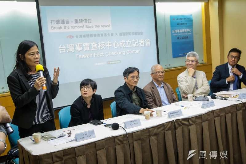 20180419-風傳媒總編輯吳典蓉19日出席台灣事實查核中心成立記者會。(顏麟宇攝)