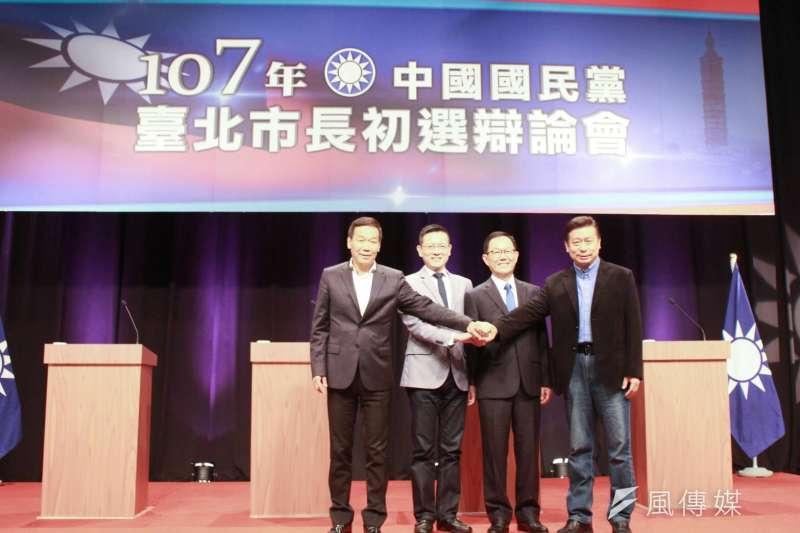 國民黨台北市長初選辯論會第二場,鍾小平(左起)、孫大千、丁守中、張顯耀出席初選辯論會。(方炳超攝)