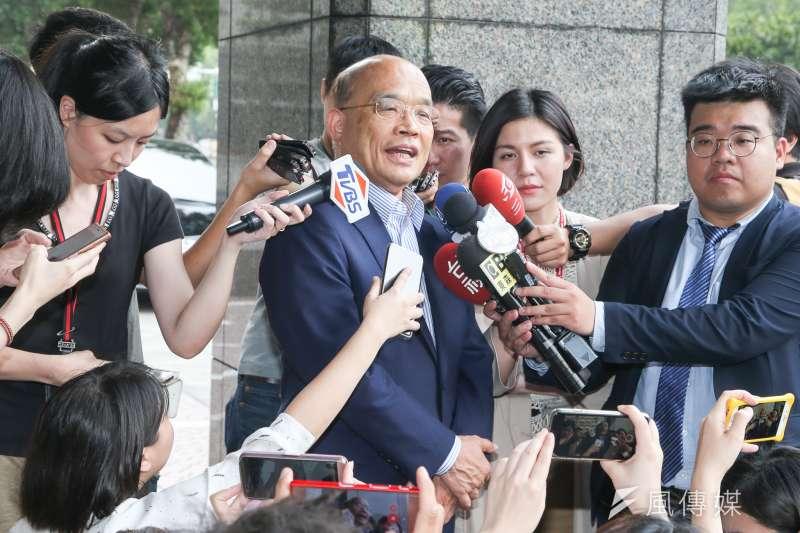 民進黨新北市長參選人蘇貞昌今(8)正式表態「堅持反對」核廢料放置新北市。(資料照,陳明仁攝)