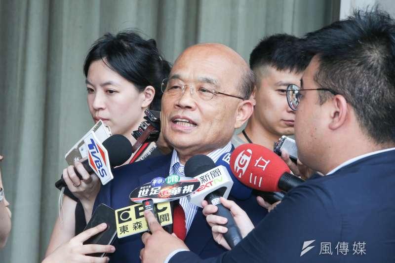 20180501-角逐新北市長的前院長蘇貞昌和同黨立委聚廳後受訪。(陳明仁攝)