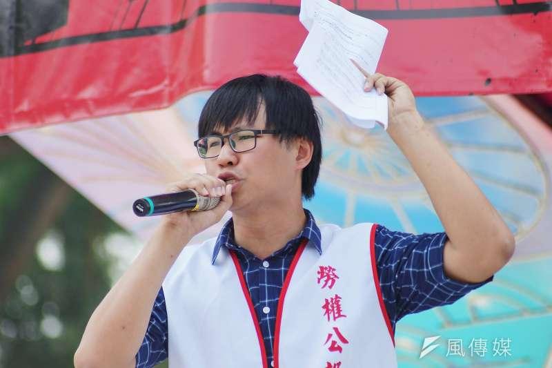 20180501-五一勞工大遊行,工會代表謝毅弘發言。(盧逸峰攝)