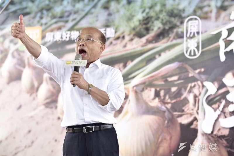 20180505-民進黨新北市長參選人蘇貞昌上午出席「屏東『落山風』洋蔥前進新北市記者會。(蘇貞昌辦公室提供)