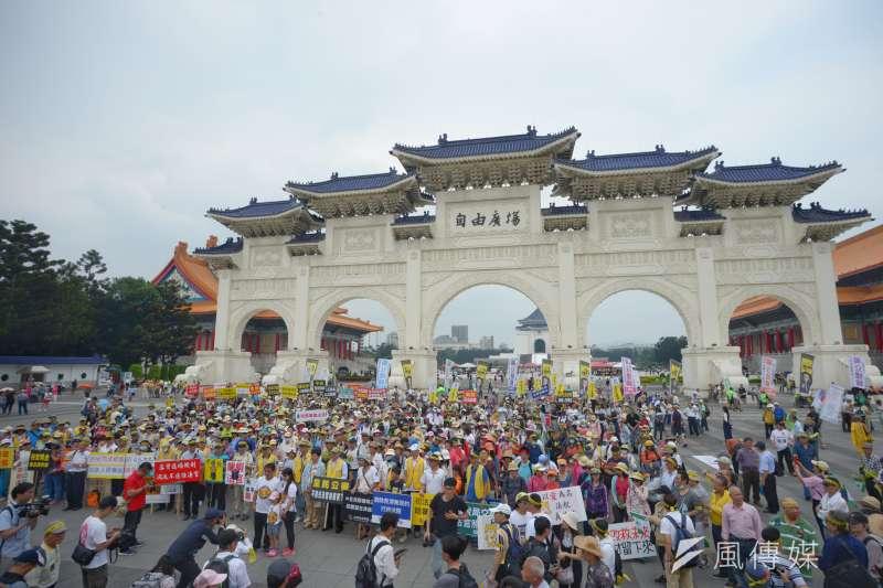 20180505-「55支持陪審大遊行」,民眾聚集在自由廣場前。(甘岱民攝)