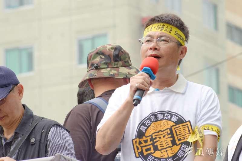 20180505-「55支持陪審大遊行」,新北市議員參選人胡世和。(甘岱民攝)