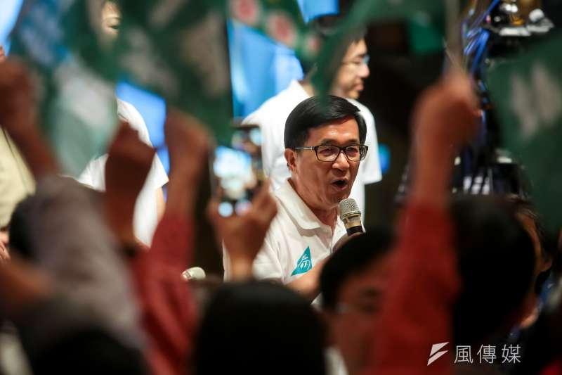 前總統陳水扁透過「新勇哥物語」表示,民進黨承認,台灣是「事實台灣」,還不到法理台獨,所以黨綱又規定,民進黨除推動國家體制的改造,並應進一步銓釋台灣的定位與走向。(資料照,顏麟宇攝)