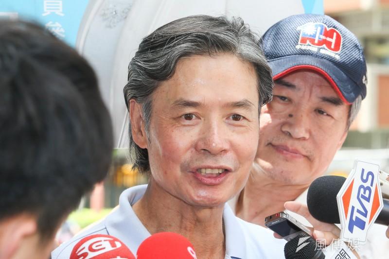 許久未露面的總統府前秘書長金溥聰因反對立委傅崑萁恢復黨籍案出席記者會。(資料照,陳明仁攝)