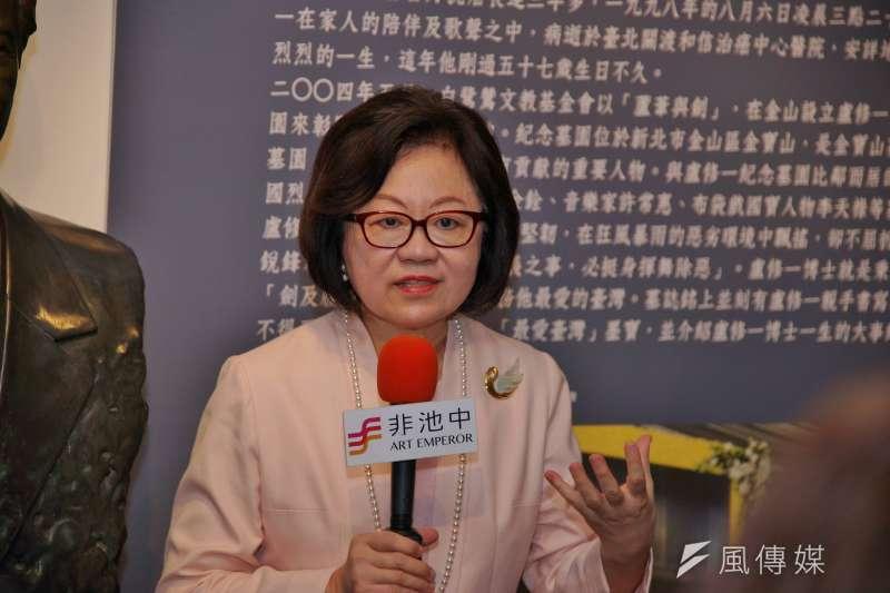 20180510-公視董事長陳郁秀出席《盧修一與他時代》影像書發表與開幕式。(盧逸峰攝)