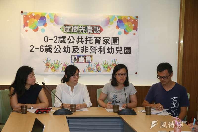 20180515-婦幼團體召開記者會,呼籲政府應廣設公幼及非營利幼兒園。(陳明仁攝)