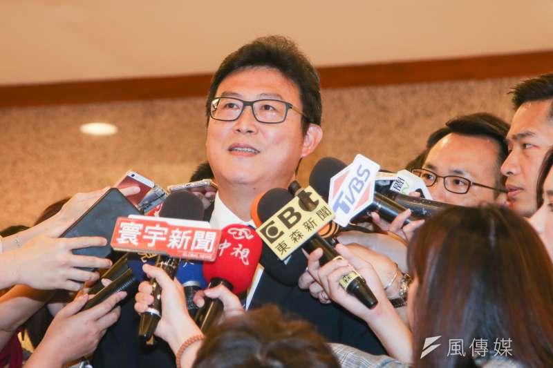20180516-針對民進黨選對會對角逐台北市長人選啓動徵召,積極的姚文智表示,他有如棒球投手牛棚的三號先發,並信心滿滿等待登板。(陳明仁攝)