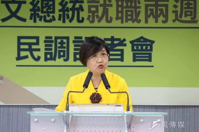 民進黨副秘書長徐佳青在政論節目竟指八二三砲戰是共產黨打國民黨的戰爭。(陳韡誌攝)