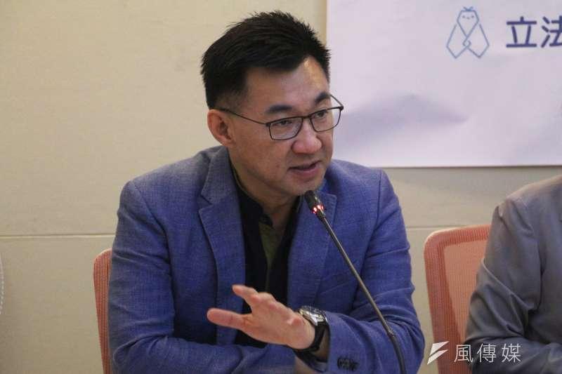 20180517-「友善移民不打造 經濟移民走了了」記者會,立法委員江啟臣發言。(陳韡誌攝)