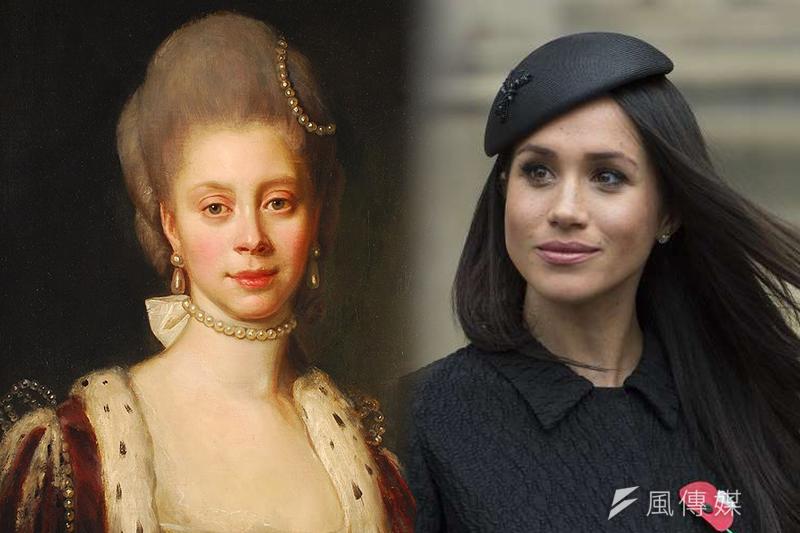 擁有非裔血統的美國女星梅根(右)19日將與英國哈利王子結婚,不過有歷史學家指出英國王室首位有非裔血統的成員是夏綠蒂王后(照片:美聯社、維基百科/合成:風傳媒)