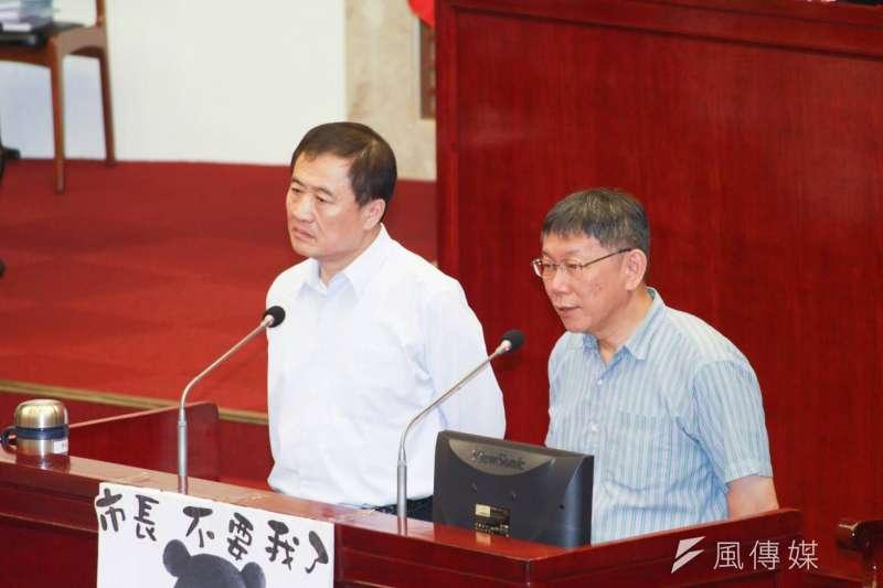台北市議會質詢,圖為市長柯文哲及副市長陳景峻。(方炳超攝)